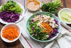 This flavorful Asian Chopped Salad with Spicy Peanut Dressing can be made ahead of time and enjoyed for lunch all week long!
