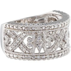 Pre-owned Rina Limor Diamond Filigree Ring (230 AUD) ❤ liked on Polyvore featuring jewelry, rings, diamond jewelry, pre owned diamond rings, band jewelry, rina limor jewelry and band rings