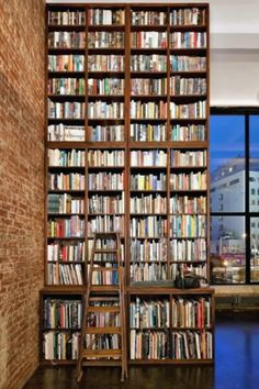 Office Workspace Advanced Bookshelf With Brick Expose Wall For Home Library Design Marvelous Home Libraries Design Floor To Ceiling Bookshelves, Unique Bookshelves, Library Bookshelves, Bookcases, Bookshelf Design, Handmade Bookshelves, Bookcase With Ladder, Apartment Bookshelves, Bookshelves In Living Room