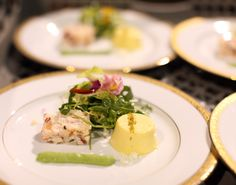 Lobster and Pink Lady Apple Terrine and Corn Panna Cotta #culinarycapers #food #catering http://www.culinarycapers.com/ Photo: John C. Watson