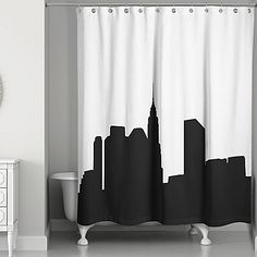 Opima black world map shower curtain check out the image by city skyline shower curtain in blackwhite gumiabroncs Gallery