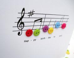 Tarjeta de la música de feliz cumpleaños tarjeta de por Nikelcards