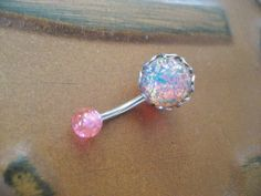 Pink and blue opal belly button ring