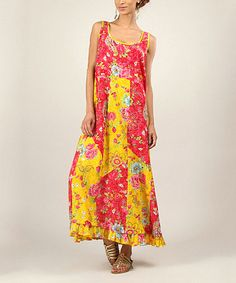 Look what I found on #zulily! Red & Yellow Floral Patchwork Maxi Dress by Tera Bora #zulilyfinds
