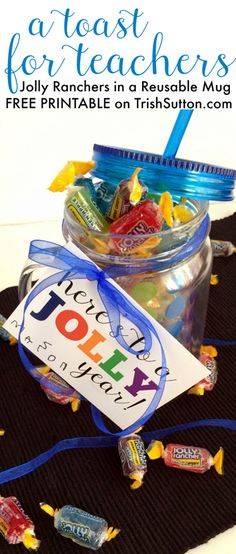 A Jolly Toast; Back To School Teacher Gift & Free Printable. A Sweet & simple gift. Free Printable on TrishSutton.com.