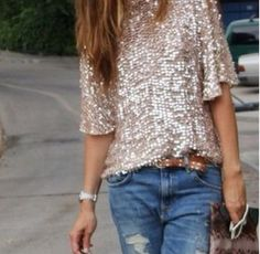 Bf jeans and sequined goodness