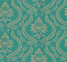 Neela (25506) - Harlequin Wallpapers - A richly decorative floral damask design with strong curved patterns.  Shown here in metallic silver gold on a dark turquoise blue strie striped background.  Please ask for a sample for true colour match.