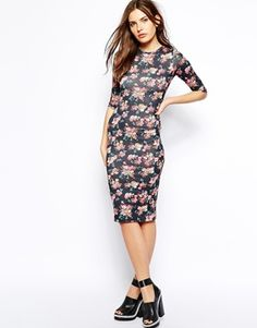 Club L Midi Dress In Floral Paper Print