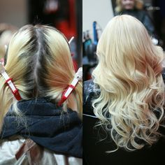 Root retouch using CHI Blondest Blond 30 vol. Developer and 10 B with 10 vol. Developer to tone.