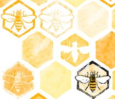 Bee Fabric, Yellow Fabric, Satin Fabric, Honey Logo, Bee Art, Bees Knees, Queen Bees, Honeycomb, Custom Fabric