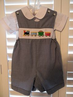 OFF- Smocked Boy Jon Jon Train Gingham Peter Pan collar shirt included Ready to Ship Toddler Boy Fashion, Toddler Girl Dresses, Toddler Boys, Kids Fashion, Dress Girl, Little Boy Outfits, Baby Boy Outfits, Kids Outfits, Smocked Baby Dresses