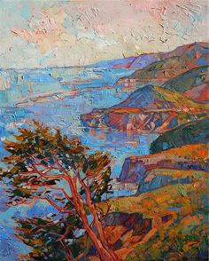Layers of Coast - Modern Impressionism Paintings by Erin Hanson | Original Expressionism Oil Paintings for Sale | California Impressionist Landscapes
