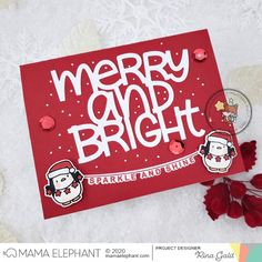 mama elephant   design blog: INTRODUCING: Mixed Holiday Greetings + Big Merry and Bright Winter Cards, Holiday Cards, Christmas Cards, Christmas Ideas, Mama Elephant Stamps, Elephant Design, Merry And Bright, Hand Lettering, Paper Crafts