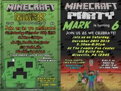 MINECRAFT invitation & Party Supplies available. Get your game on for this Minecraft themed birthday party invitation & all the party supplies needed to match are also available. 16 designs to choose from. Custom Party Invitations, Birthday Party Invitations, Invitation Design, Birthday Party Themes, Birthday Ideas, Minecraft Invitations, Service Design, Kid Stuff, Party Supplies