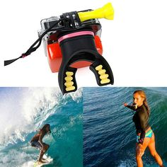 Marketing Through Sports Place: On The Water  Promotion: Getting the perfect shot of you surfing.  Price: $34.99 People: This attracts suffers and surf coaches Product: Go Pro Mouth Mount for getting the perfect water shots, but still being able to surf Gopro Camera, Camera Gear, Gopro Hero 5, Gopro Diy, Gopro Action, Wakeboarding, Scuba Diving Gear, Hero 3, Camera Accessories