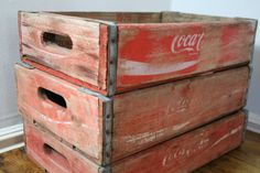 Vintage red CocaCola crates by theUniqueMagpie on Etsy