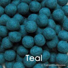 Teal Wool Felt Balls