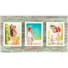"5"" x 7"" Rustic Blue 3-Opening Collage Frame"