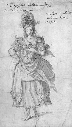 "Costume by Iñigo Jones or Queen Camilla from the ""The Masque of Queens"",1609. Twelve queens (masque) frightened away the witches (antimasque) who wanted to bring the chaos to the world."