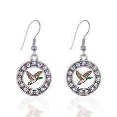 Duck Season Circle Charm Earrings French Hook Clear Crystal Rhinestones * Details can be found by clicking on the image. Note:It is Affiliate Link to Amazon.
