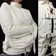 White or Black Asylum Patient Straight Jacket Halloween Costume Unisex S/M L/XL