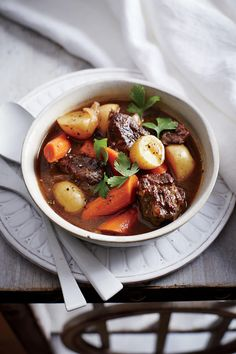 Classic Beef Stew - Lightened Up Slow-Cooker Recipes - Southernliving. Recipe: Classic Beef Stew A nutty dark beer adds richness and depth to the stew. Be careful not to choose a beer that's super hoppy; it will taste too bitter. To get 2 pounds of trimmed meat, you'll need to purchase a 2 ½-pound roast.