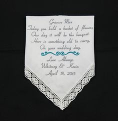 Embroidered Flower Girl Handkerchiefs by NapaEmbroidery on Etsy