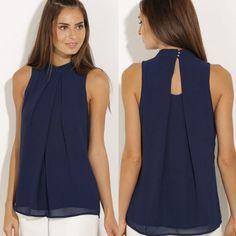 Summer Women Chiffon Blouse 2016 Fashion Ladies Casual Back Hollow Sleeveless Shirt Blouses Tops