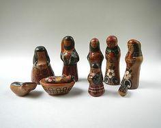 10 Piece Tonala Pottery Nativity Set, Artist Signed, Vintage Christmas Decor