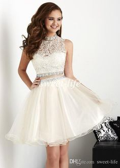 High Quality Two pieces Short Tulle Crystals Beaded Cocktail Dresses Mini Homecoming Dresses Homecoming Dress 2016 Cheap - Quince dresses - Short Sleeve Prom Dresses, White Homecoming Dresses, Two Piece Homecoming Dress, A Line Prom Dresses, Tulle Prom Dress, Prom Party Dresses, Dress Lace, Mini Dresses, Quinceanera Dama Dresses