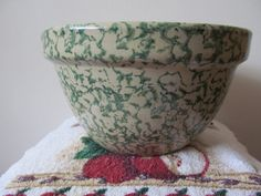 Vintage Robinson Ransbottom Green Spongeware by WalkersWimsey