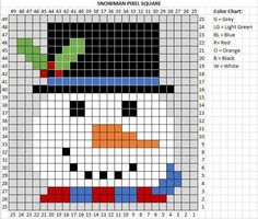 Crochet Snowman Pixel Graph - Repeat Crafter Me Crochet C2c Pattern, Pixel Crochet, Crochet Squares, Crochet Blanket Patterns, Quilt Patterns, Crochet Snowman, Christmas Crochet Patterns, Holiday Crochet, Christmas Knitting