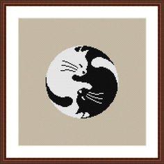 Yin Yang Cat Cross Stitch Pattern PDF | Craftsy