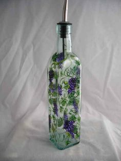 Hand Painted OIL BOTTLE with GRAPES by artisticangel on Etsy, $19.99