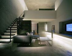 Architecture, Cool Modern Mejiro House By MDS Architectural Studio In Tokyo Featuring Interior Design With Living Room Furniture, Black Staircase And Sofa: Awesome Minimalist modern house called Mejiro House in Japan Minimalist Interior, Minimalist Home, Minimalist Design, Be Design, House Design, My Living Room, Living Spaces, Interior Architecture, Interior Design