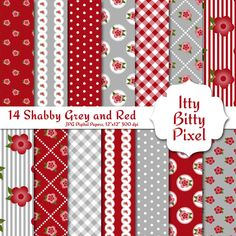 Grey Red Pink Shabby Chic Scrapbook Paper Shabby by IttyBittyPixel