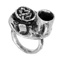 Coffee  Cigarettes ring.  An old experiment in miniature sculpture.  #jewelry #silver #ring #sculpture #Pennyroyal #zippo #coffee #cigarettes
