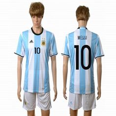 2016 Argentina team MESSI #10 white skyblue soccer jerseys home