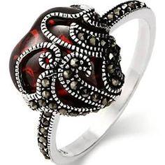 Heart Rings -Vintage Garnet Glass Heart Marcasite Ring