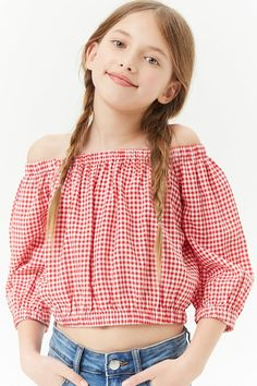 Forever 21 Girls Gingham Off-the-Shoulder Top (Kids) Fashion Kids, Preteen Girls Fashion, Girls Fashion Clothes, Teenage Girl Outfits, Girls Summer Outfits, Cute Winter Outfits, Cute Girl Outfits, Teenager Outfits, Girl Fashion