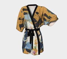 belted kimono, patterned kimono, silky knit, ochre, blue, abstract art, wearable…