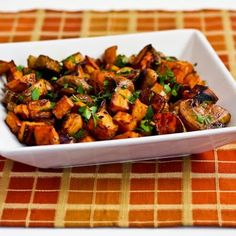 Recipe for Roasted Sweet Potatoes and Mushrooms with Thyme and Parsley; I love savory sweet potato dishes like this!  [from Kalyn's Kitchen] #HealthyThanksgiving