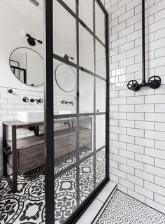 Mullions on Outside of Glass Panel This Gridscape Shower Panel Features an Industrial Style Black Frame Boho Bathroom, Bathroom Trends, Industrial Bathroom, Bathroom Styling, Bathroom Interior Design, Bathroom Renovations, Small Bathroom, Bathroom Ideas, White Bathroom