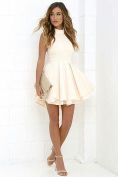 short homecoming dresses halter white homecoming dress,simple backless Prom dress,short party dress from DestinyDress Simple Homecoming Dresses, Hoco Dresses, Backless Prom Dresses, Pretty Dresses, Beautiful Dresses, Dress Outfits, Casual Dresses, Summer Dresses, Short Formal Dresses
