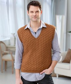 This honey-colored basketweave knit vest pattern is a handsome option for any number of different occasions. The Classic Men's Vest features an attractive color, texture, and slimming silhouette. Mens Vest Pattern, Crochet Vest Pattern, Crochet Jacket, Knitting Patterns Free, Free Knitting, Crochet Patterns, Free Pattern, Knitting Sweaters, Neck Pattern