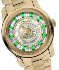 Michael Kors MK5730 Mid Size Green Glitz Gold Tone Watch : Disclosure: Affiliate link  *$200.00 - 204.94