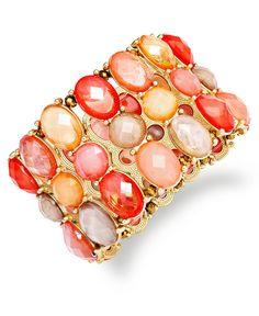 Charter Club Bracelet, Gold-Tone Coral Bead Three-Row Stretch Bracelet - Macy's