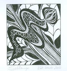"""""""Snake"""" - Ethno Style, black ink drawing on white paper, (c) Cordula Kerlikowski"""