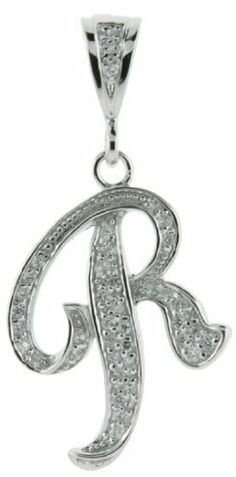 Sterling Silver Large Script Initial Letter R Pendant w/ Cubic Zirconia Stones, 1 1/2 inch tall Sabrina Silver. $46.95