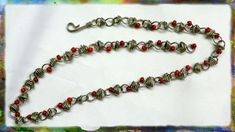cool DIY Bijoux - How to Make A Silver Wire Jewelry Necklace, Figure 8 Link Necklace with Red Beads